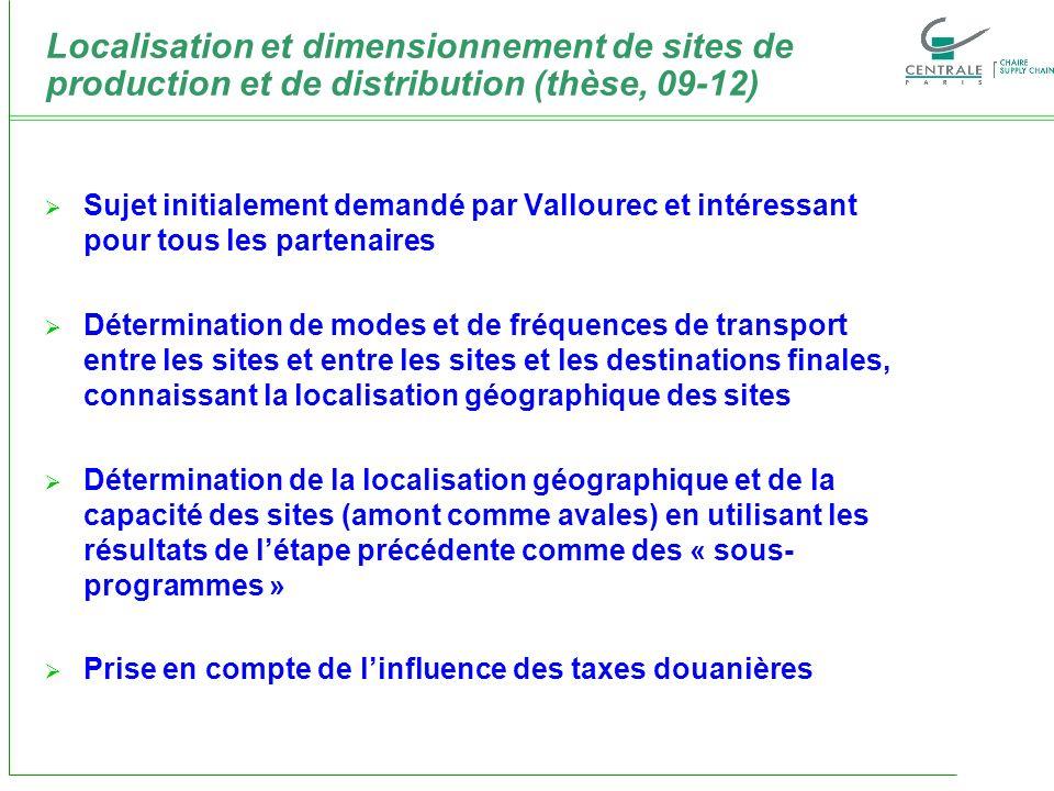 Localisation et dimensionnement de sites de production et de distribution (thèse, 09-12) Sujet initialement demandé par Vallourec et intéressant pour