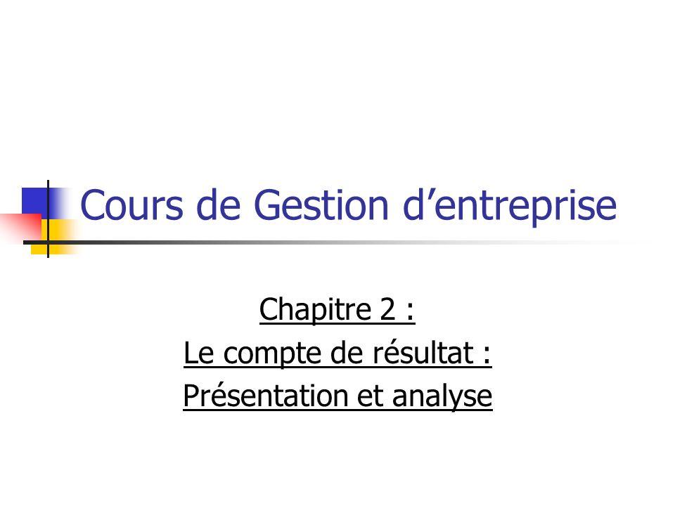 Cours de Gestion dentreprise Chapitre 2 : Le compte de résultat : Présentation et analyse