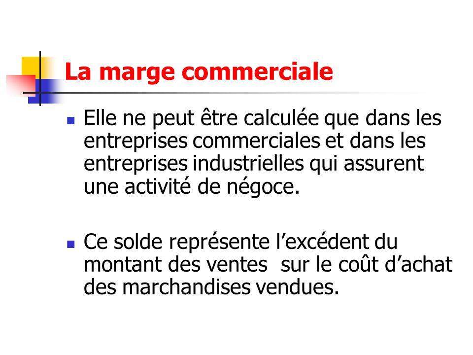 Elle ne peut être calculée que dans les entreprises commerciales et dans les entreprises industrielles qui assurent une activité de négoce. Ce solde r