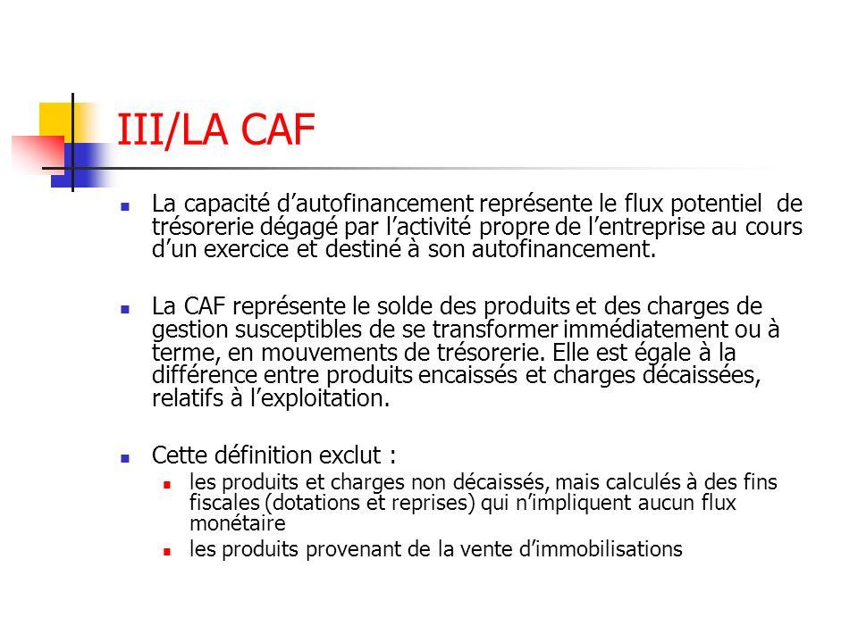 III/LA CAF La capacité dautofinancement représente le flux potentiel de trésorerie dégagé par lactivité propre de lentreprise au cours dun exercice et