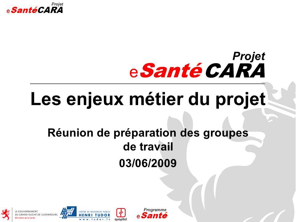 e Santé Projet CARA Les enjeux métier du projet Réunion de préparation des groupes de travail 03/06/2009 e Santé Projet CARA e Santé Programme