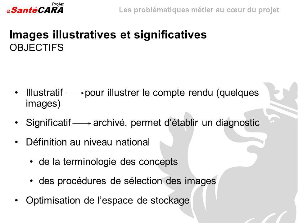 e Santé Projet CARA Illustratif pour illustrer le compte rendu (quelques images) Significatif archivé, permet détablir un diagnostic Définition au niv
