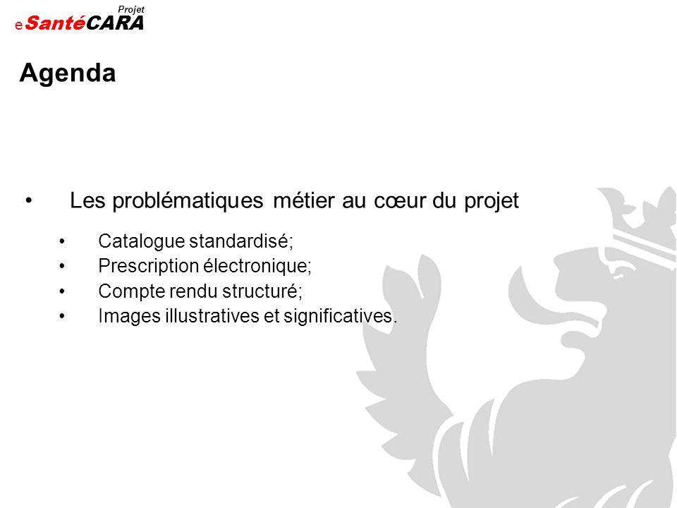 e Santé Projet CARA Agenda Les problématiques métier au cœur du projet Catalogue standardisé; Prescription électronique; Compte rendu structuré; Image