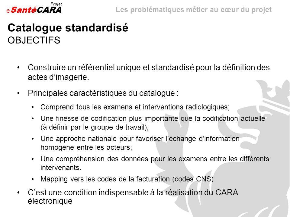 e Santé Projet CARA Catalogue standardisé OBJECTIFS Construire un référentiel unique et standardisé pour la définition des actes dimagerie. Principale