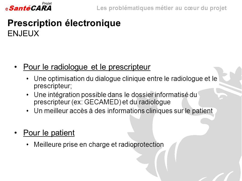 e Santé Projet CARA Prescription électronique ENJEUX Pour le radiologue et le prescripteur Une optimisation du dialogue clinique entre le radiologue e