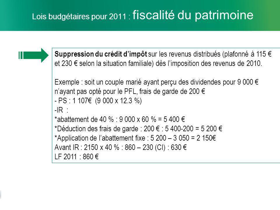 10 Lois budgétaires pour 2011 : fiscalité du patrimoine Suppression du crédit dimpôt sur les revenus distribués (plafonné à 115 et 230 selon la situation familiale) dès limposition des revenus de 2010.