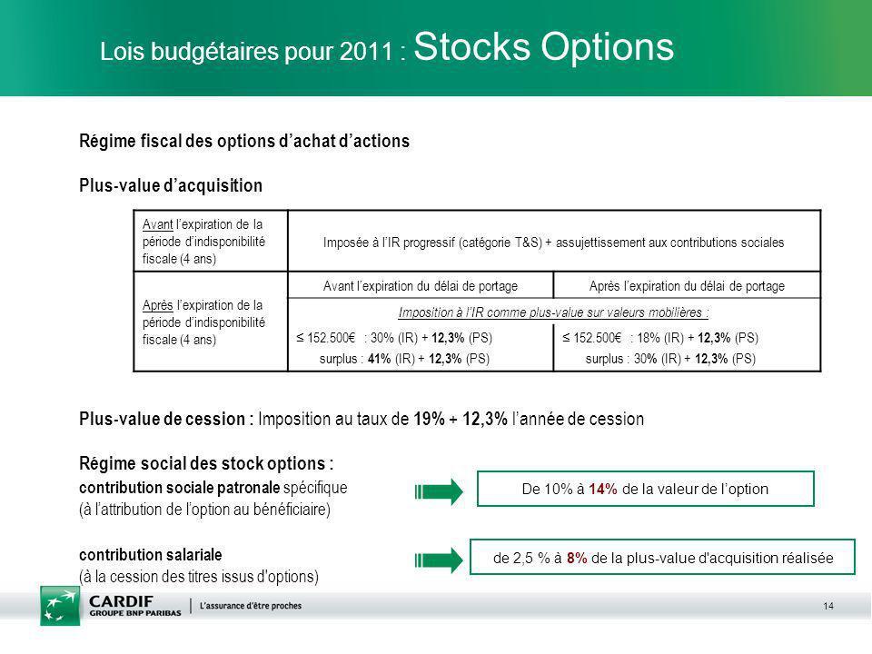 14 Lois budgétaires pour 2011 : Stocks Options Régime fiscal des options dachat dactions Plus-value dacquisition Plus-value de cession : Imposition au