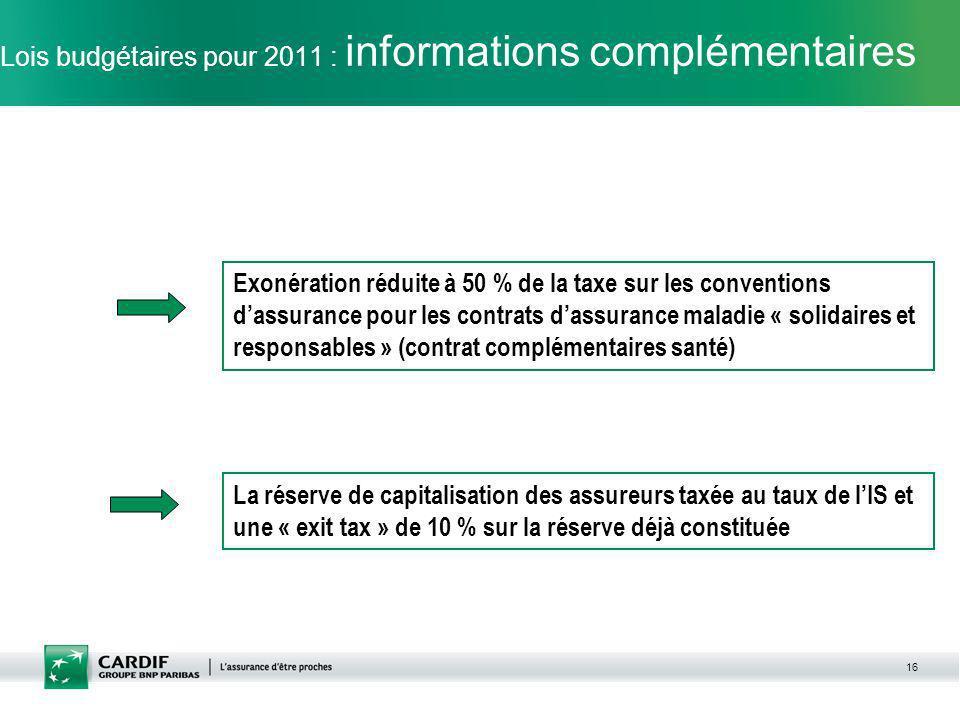 16 Lois budgétaires pour 2011 : informations complémentaires Exonération réduite à 50 % de la taxe sur les conventions dassurance pour les contrats da