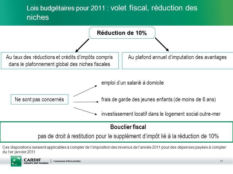 17 Lois budgétaires pour 2011 : volet fiscal, réduction des niches Ne sont pas concernés Ces dispositions seraient applicables à compter de limpositio