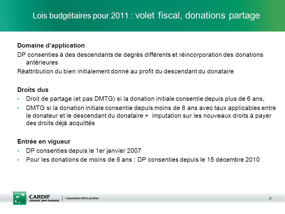 21 Lois budgétaires pour 2011 : volet fiscal, donations partage Domaine dapplication DP consenties à des descendants de degrés différents et réincorpo