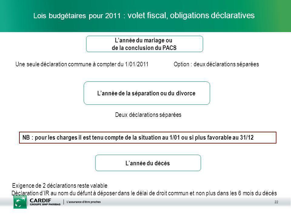 22 Lois budgétaires pour 2011 : volet fiscal, obligations déclaratives Lannée du mariage ou de la conclusion du PACS Une seule déclaration commune à c