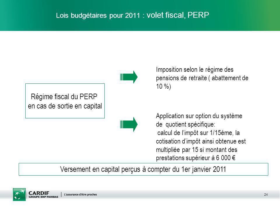 24 Lois budgétaires pour 2011 : volet fiscal, PERP Imposition selon le régime des pensions de retraite ( abattement de 10 %) Régime fiscal du PERP en