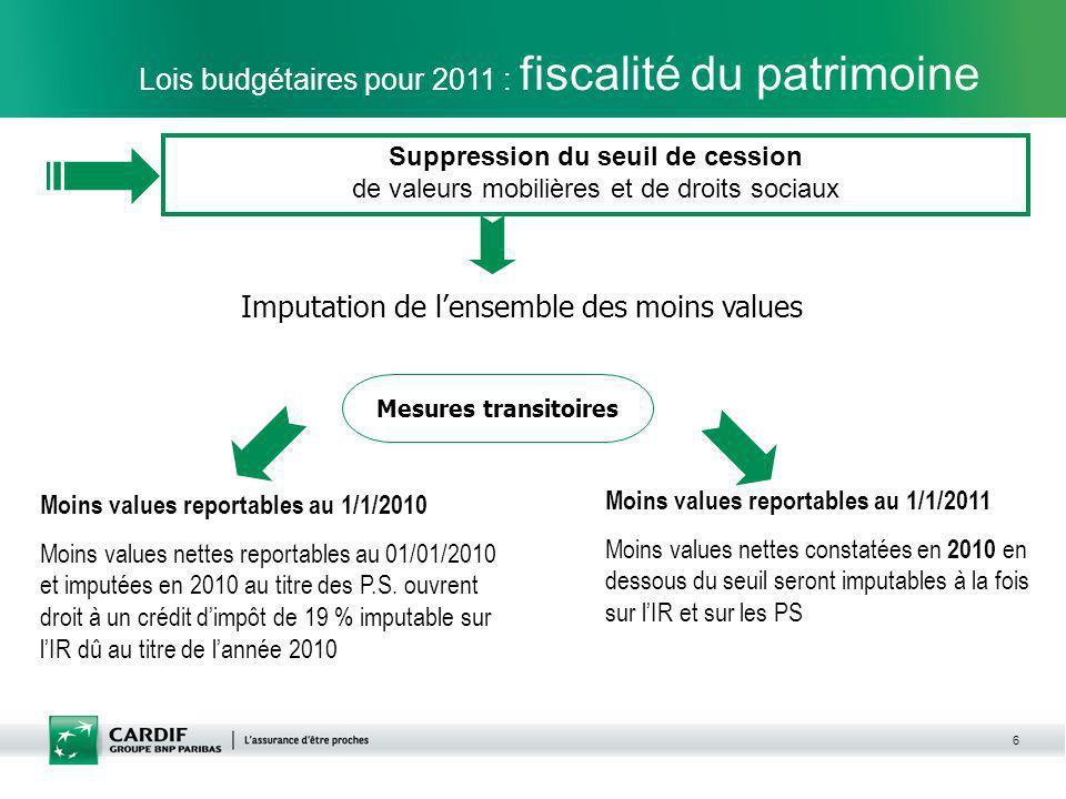 6 Lois budgétaires pour 2011 : fiscalité du patrimoine Imputation de lensemble des moins values Mesures transitoires Moins values reportables au 1/1/2