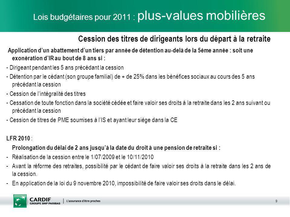 9 Lois budgétaires pour 2011 : plus-values mobilières Cession des titres de dirigeants lors du départ à la retraite Application dun abattement dun tie