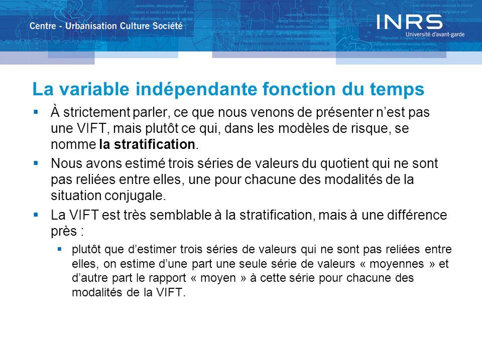 La variable indépendante fonction du temps À strictement parler, ce que nous venons de présenter nest pas une VIFT, mais plutôt ce qui, dans les modèles de risque, se nomme la stratification.