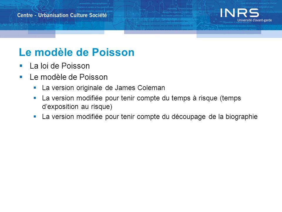 Le modèle de Poisson La loi de Poisson Le modèle de Poisson La version originale de James Coleman La version modifiée pour tenir compte du temps à risque (temps dexposition au risque) La version modifiée pour tenir compte du découpage de la biographie