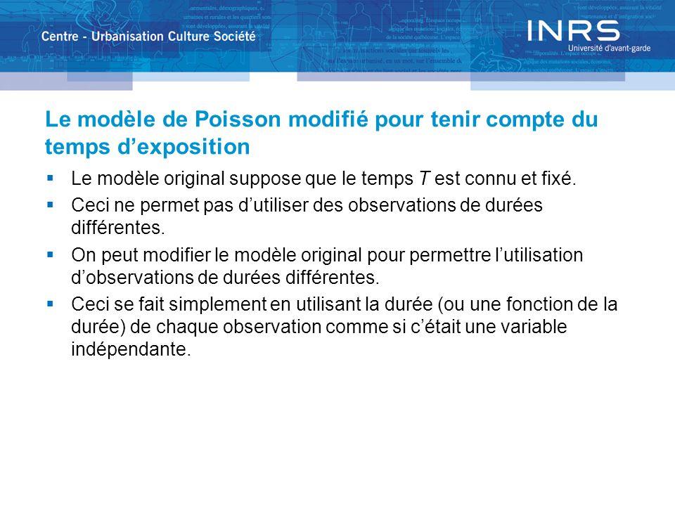 Le modèle de Poisson modifié pour tenir compte du temps dexposition Le modèle original suppose que le temps T est connu et fixé.