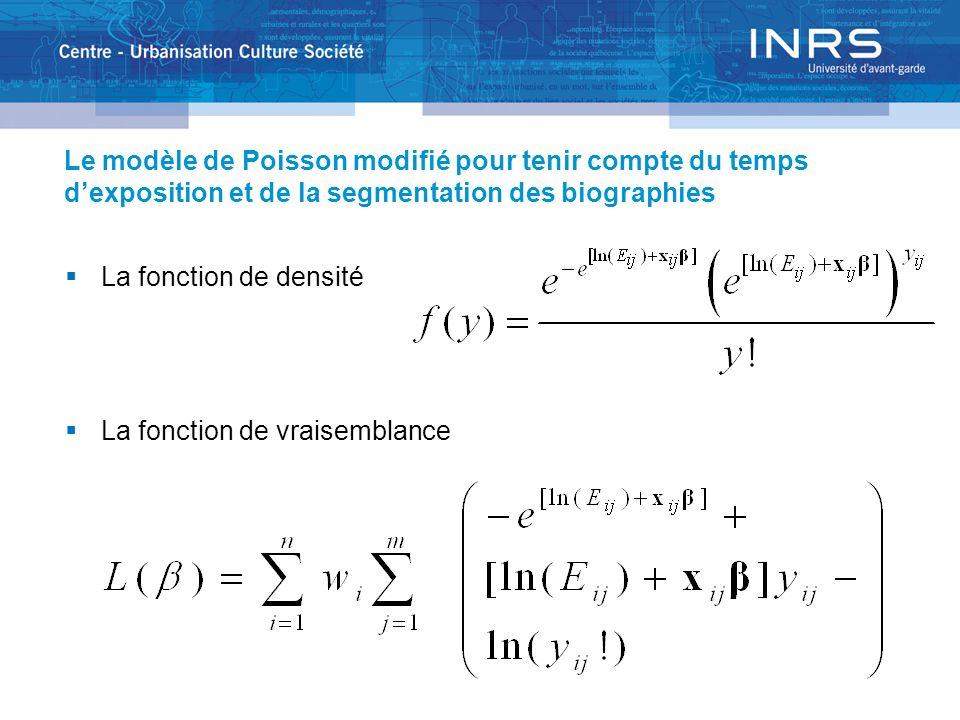 Le modèle de Poisson modifié pour tenir compte du temps dexposition et de la segmentation des biographies La fonction de densité La fonction de vraisemblance