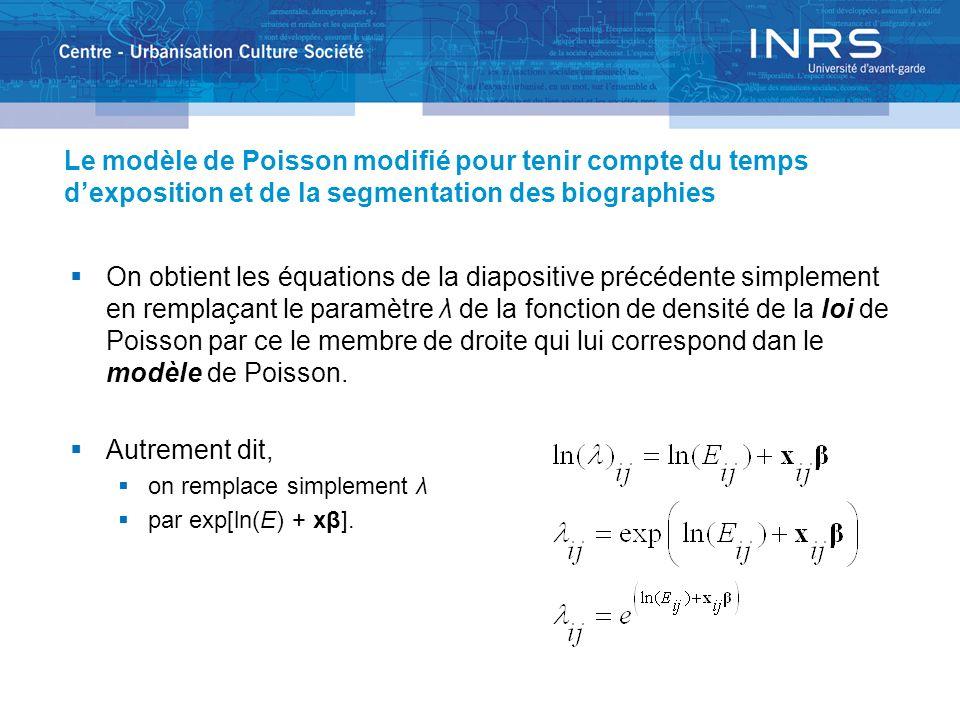 Le modèle de Poisson modifié pour tenir compte du temps dexposition et de la segmentation des biographies On obtient les équations de la diapositive précédente simplement en remplaçant le paramètre λ de la fonction de densité de la loi de Poisson par ce le membre de droite qui lui correspond dan le modèle de Poisson.