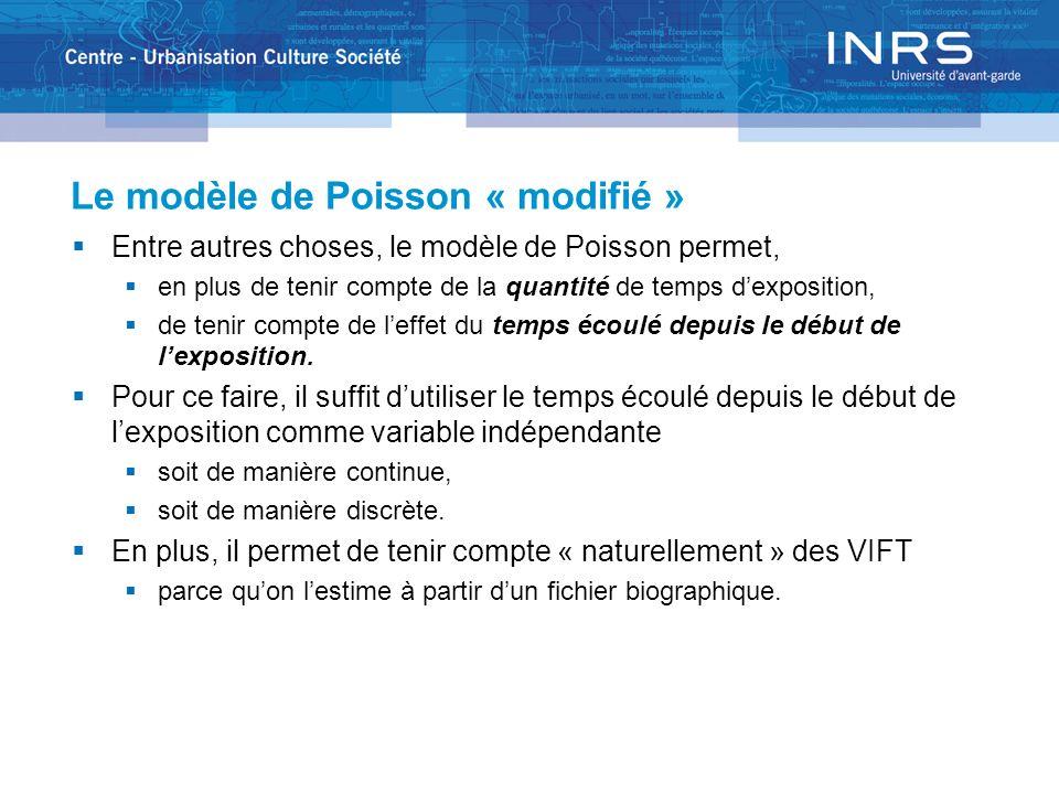 Le modèle de Poisson « modifié » Entre autres choses, le modèle de Poisson permet, en plus de tenir compte de la quantité de temps dexposition, de tenir compte de leffet du temps écoulé depuis le début de lexposition.