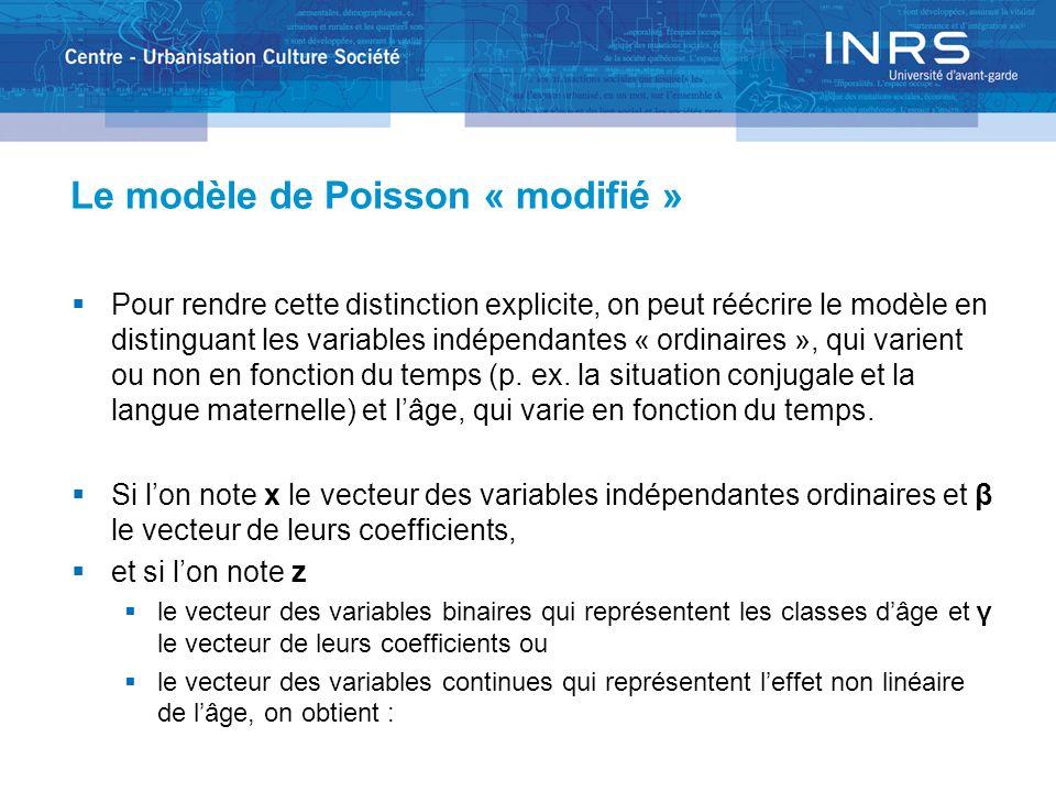 Le modèle de Poisson « modifié » Pour rendre cette distinction explicite, on peut réécrire le modèle en distinguant les variables indépendantes « ordinaires », qui varient ou non en fonction du temps (p.