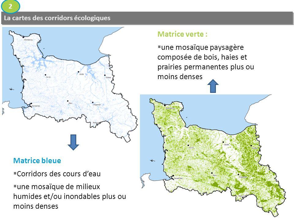 La cartes des corridors écologiques 2 Matrice bleue Corridors des cours deau une mosaïque de milieux humides et/ou inondables plus ou moins denses Matrice verte : une mosaïque paysagère composée de bois, haies et prairies permanentes plus ou moins denses