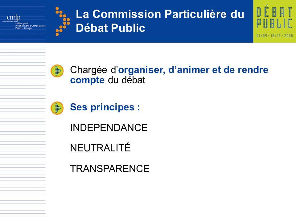 La Commission Particulière du Débat Public Chargée dorganiser, danimer et de rendre compte du débat Ses principes : INDEPENDANCE NEUTRALITÉ TRANSPARENCE