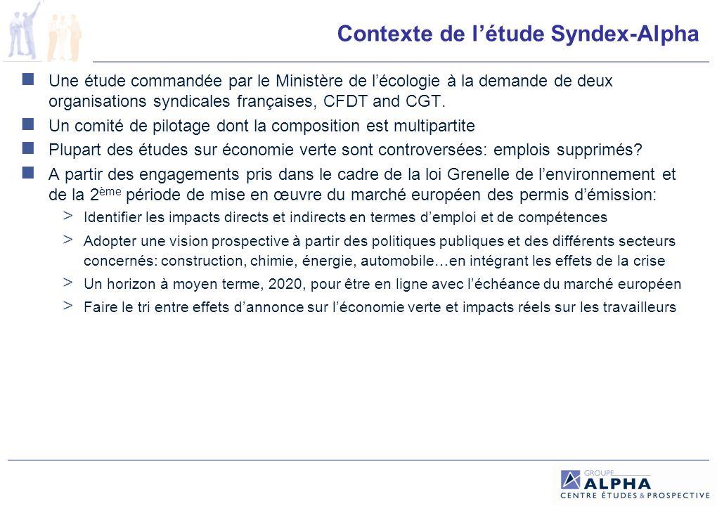 Contexte de létude Syndex-Alpha Une étude commandée par le Ministère de lécologie à la demande de deux organisations syndicales françaises, CFDT and CGT.