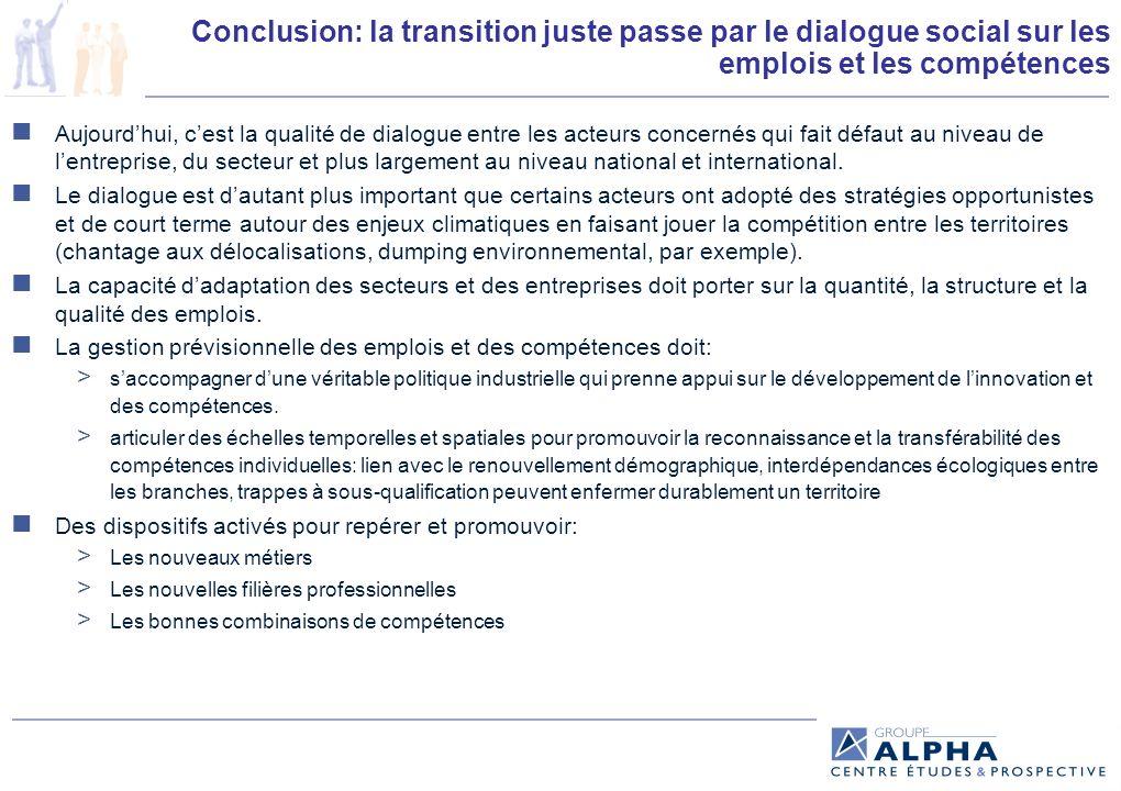 Conclusion: la transition juste passe par le dialogue social sur les emplois et les compétences Aujourdhui, cest la qualité de dialogue entre les acteurs concernés qui fait défaut au niveau de lentreprise, du secteur et plus largement au niveau national et international.