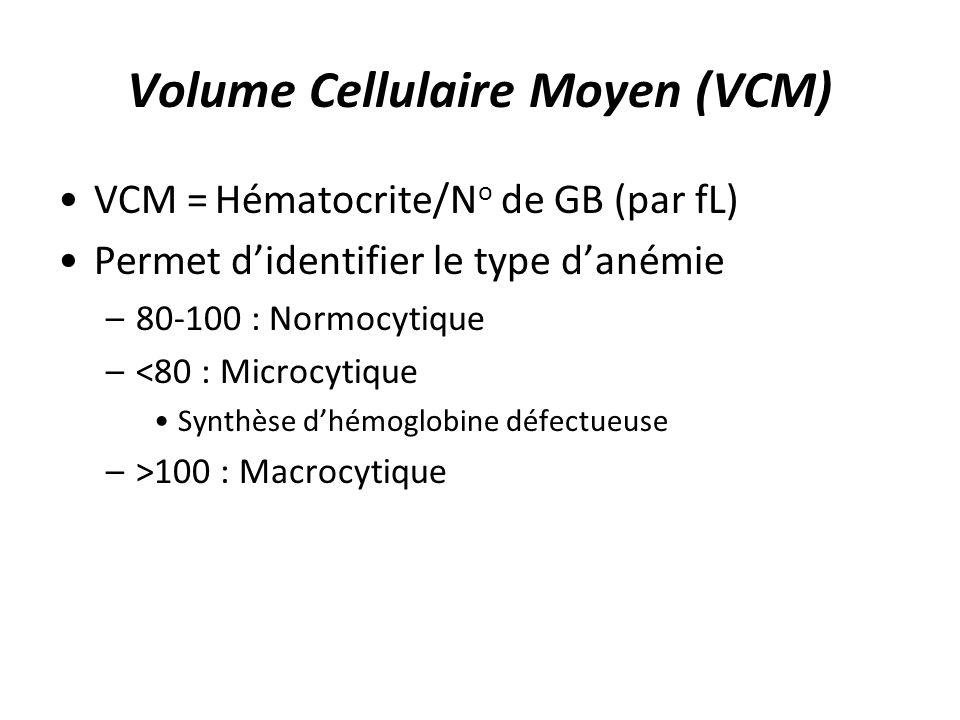 Volume Cellulaire Moyen (VCM) VCM = Hématocrite/N o de GB (par fL) Permet didentifier le type danémie –80-100 : Normocytique –<80 : Microcytique Synth