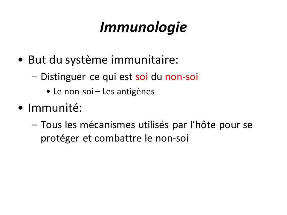 But du système immunitaire: –Distinguer ce qui est soi du non-soi Le non-soi – Les antigènes Immunité: –Tous les mécanismes utilisés par lhôte pour se