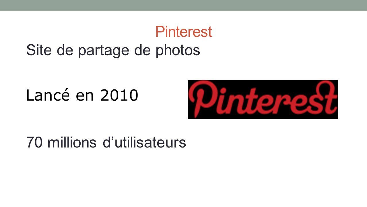 Pinterest Site de partage de photos 70 millions dutilisateurs