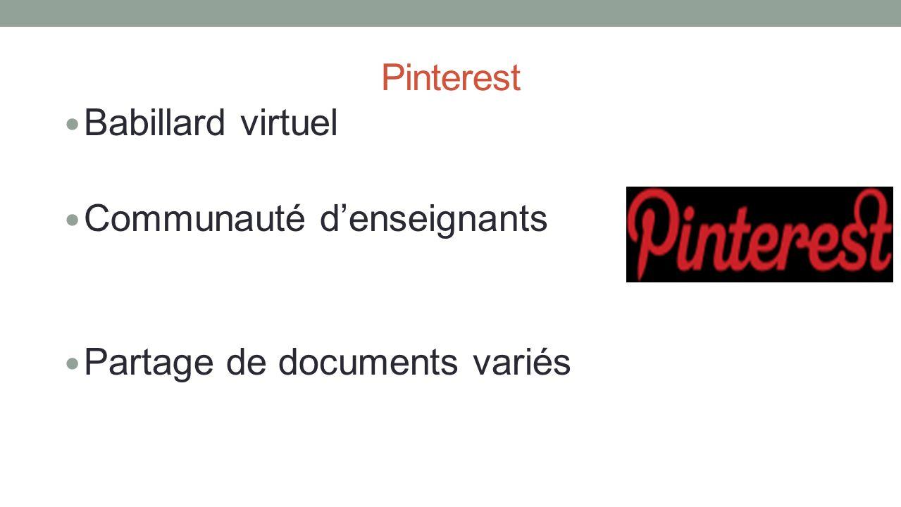 Pinterest Babillard virtuel Communauté denseignants Partage de documents variés