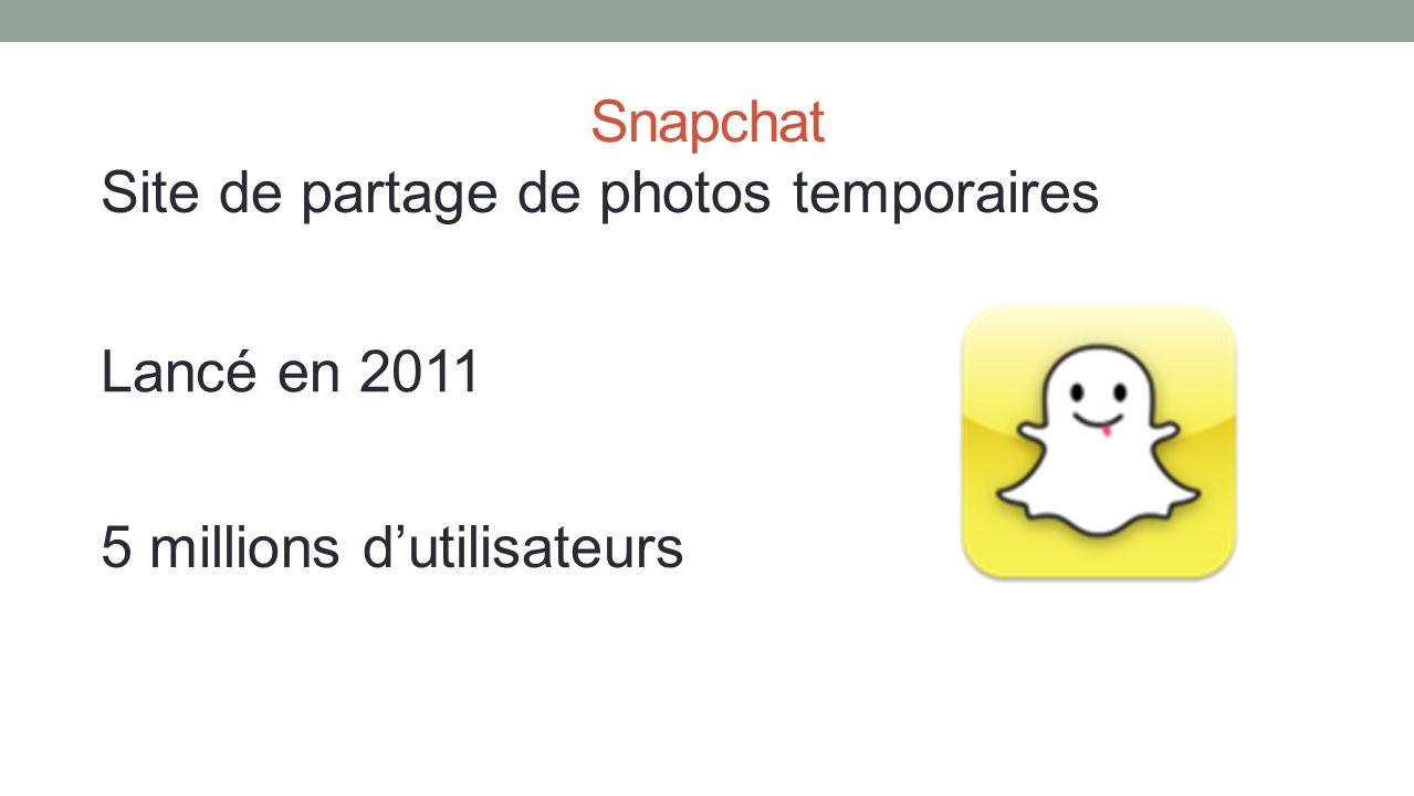 Snapchat Site de partage de photos temporaires 5 millions dutilisateurs Lancé en 2011