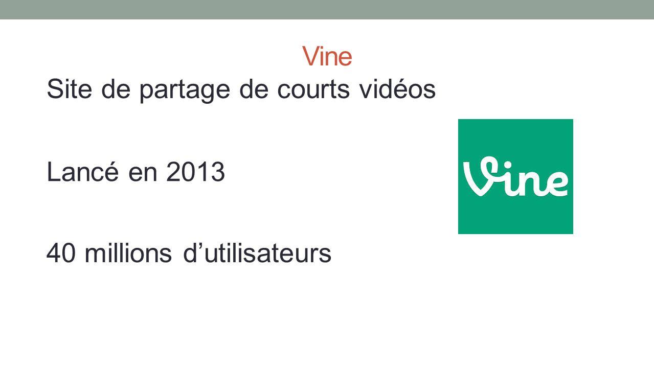 Vine Site de partage de courts vidéos 40 millions dutilisateurs Lancé en 2013