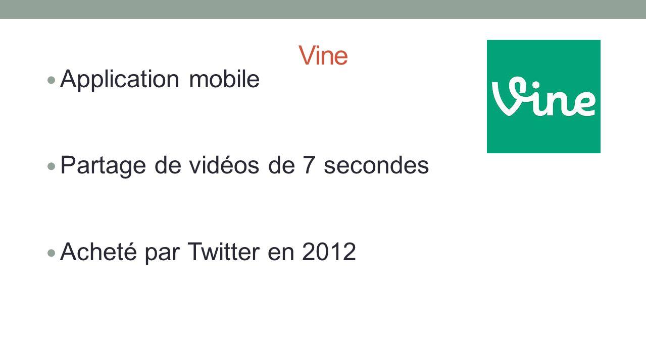 Vine Application mobile Partage de vidéos de 7 secondes Acheté par Twitter en 2012