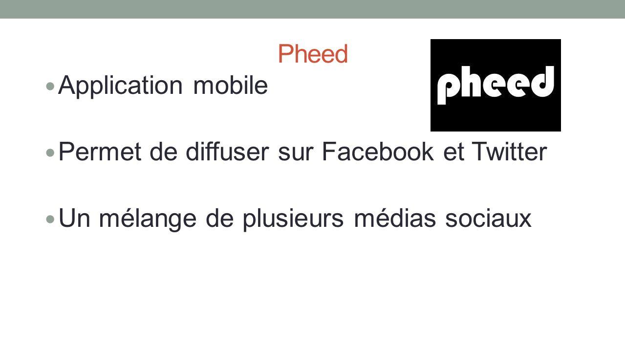 Pheed Application mobile Permet de diffuser sur Facebook et Twitter Un mélange de plusieurs médias sociaux