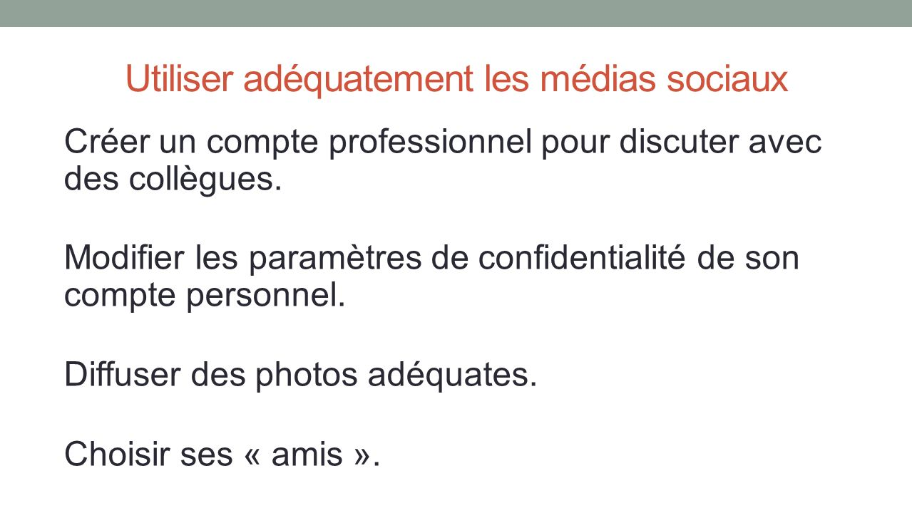 Créer un compte professionnel pour discuter avec des collègues. Modifier les paramètres de confidentialité de son compte personnel. Diffuser des photo