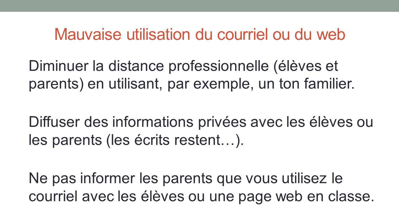 Mauvaise utilisation du courriel ou du web Diminuer la distance professionnelle (élèves et parents) en utilisant, par exemple, un ton familier. Diffus