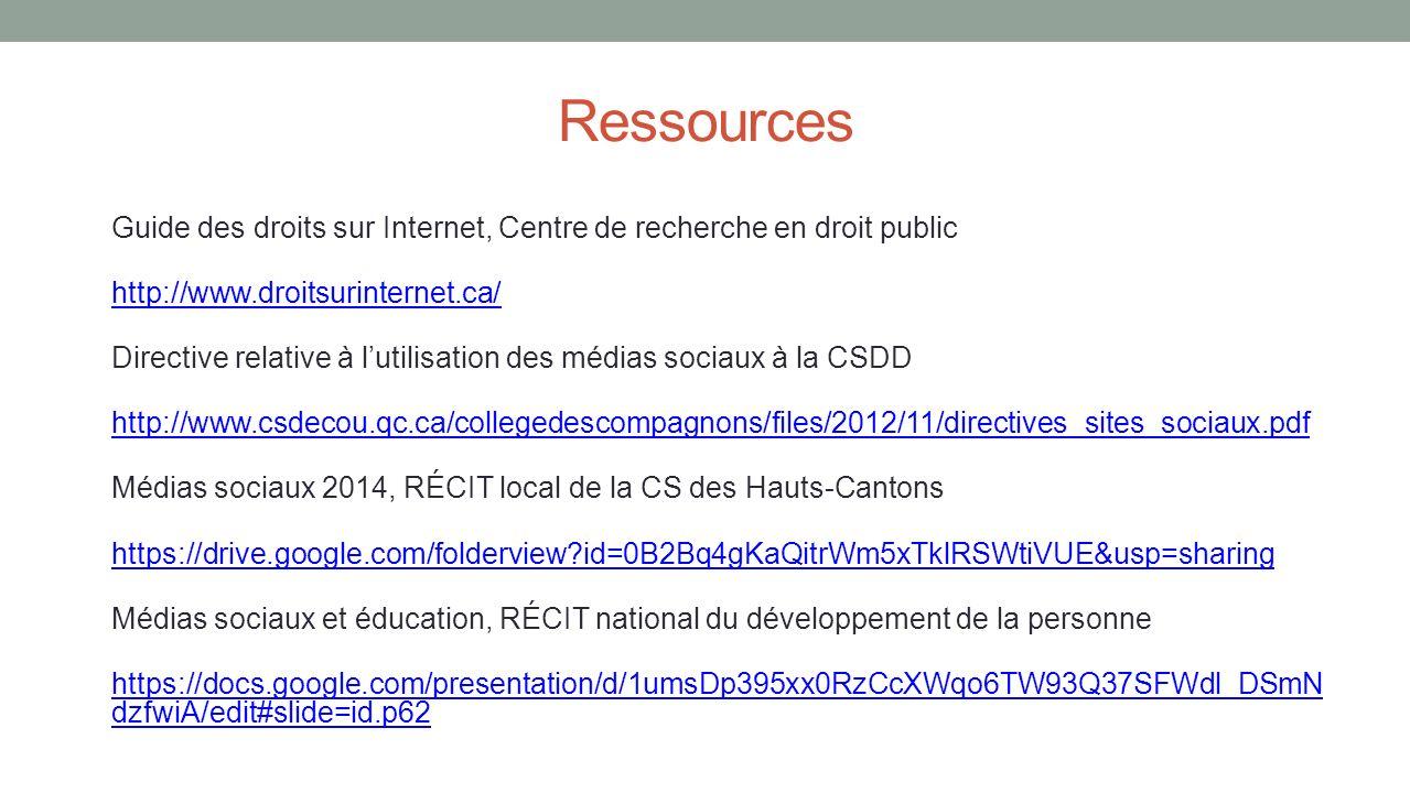 Ressources Guide des droits sur Internet, Centre de recherche en droit public http://www.droitsurinternet.ca/ Directive relative à lutilisation des mé