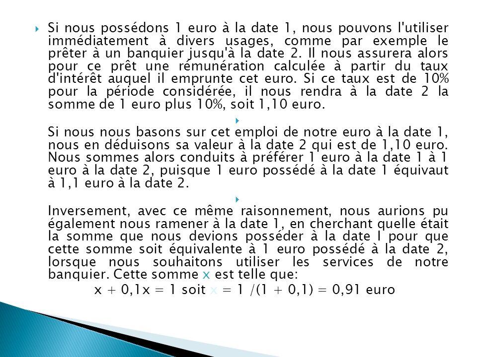 Si nous possédons 1 euro à la date 1, nous pouvons l utiliser immédiatement à divers usages, comme par exemple le prêter à un banquier jusqu à la date 2.