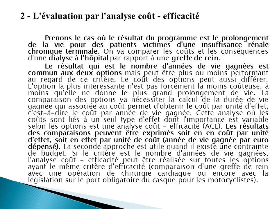 2 - L évaluation par l analyse coût - efficacité Prenons le cas où le résultat du programme est le prolongement de la vie pour des patients victimes d une insuffisance rénale chronique terminale.