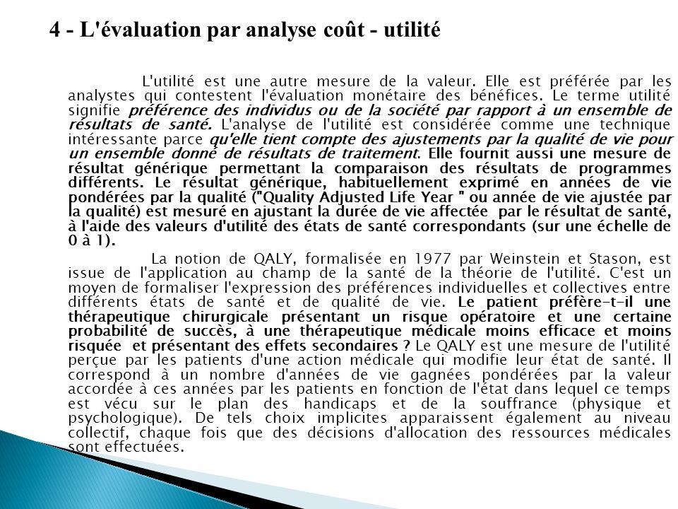 4 - L'évaluation par analyse coût - utilité L'utilité est une autre mesure de la valeur. Elle est préférée par les analystes qui contestent l'évaluati