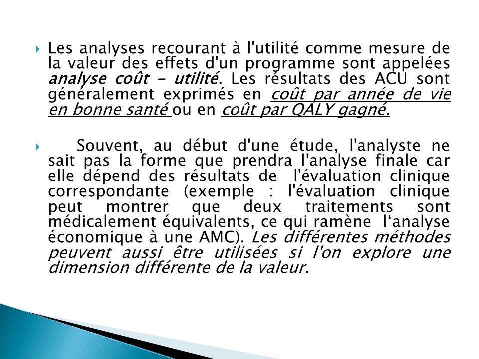 Les analyses recourant à l'utilité comme mesure de la valeur des effets d'un programme sont appelées analyse coût - utilité. Les résultats des ACU son