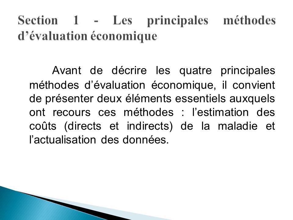 Avant de décrire les quatre principales méthodes dévaluation économique, il convient de présenter deux éléments essentiels auxquels ont recours ces méthodes : lestimation des coûts (directs et indirects) de la maladie et lactualisation des données.