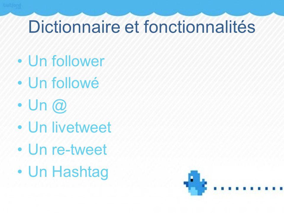 Dictionnaire et fonctionnalités Un follower Un followé Un @ Un livetweet Un re-tweet Un Hashtag