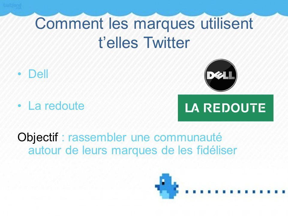 Comment les marques utilisent telles Twitter Dell La redoute Objectif : rassembler une communauté autour de leurs marques de les fidéliser