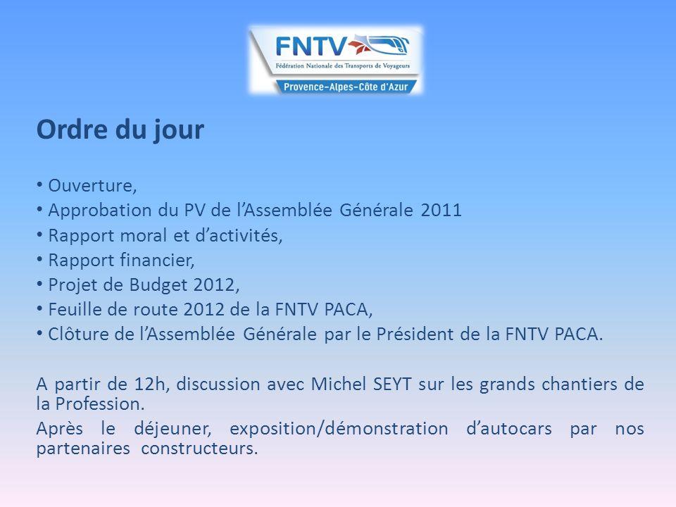 Ouverture par le Président Constatation du quorum, Hommage aux transporteurs disparus : Monsieur Daniel PARSY Monsieur Etienne MIQUEL