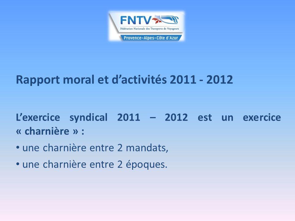 Rapport moral et dactivités 2011 - 2012 Ce rapport « charnière » nous offre lopportunité de dessiner le visage dune profession qui vit de profondes mutations et fait face à de nombreux défis.