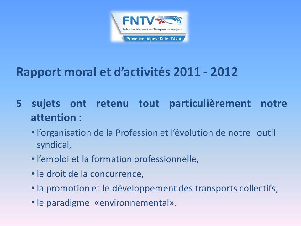 Rapport moral et dactivités 2011 - 2012 5/ Le paradigme environnemental : lenvironnement, un instrument de régulation des transports collectifs : - régulation des marchés du TRV.